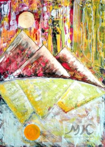 Sedm démonů Nilu, autor Marcela Kozáková, akrylová malba, rozměry 50x70, plátno artist canvas 100% cotton.