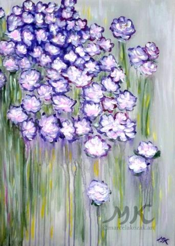 Louka s květy, autor Marcela Kozáková, akrylová malba, rozměry 50x70, plátno artist canvas 100% cotton.