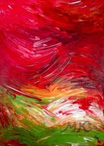 Ohnivý soumrak nad údolím, autor Marcela Kozáková, akrylová malba, rozměry 50x70, plátno artist canvas 100% cotton.