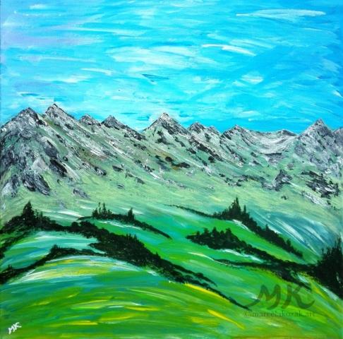 Jaro na horách, autor Marcela Kozáková, akrylová malba, rozměry 50x50, plátno artist canvas 100% cotton.