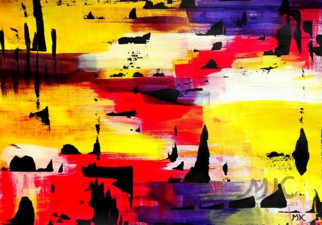Podvečer, autor Marcela Kozáková, akrylová malba, rozměry 42x30, papír Royal & Langnickel Artist Pad